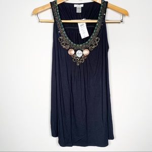 NWT CACHE Embellished Beaded Tank Top M